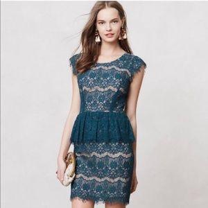 Anthropologie Maeve Lace Peplum Dress